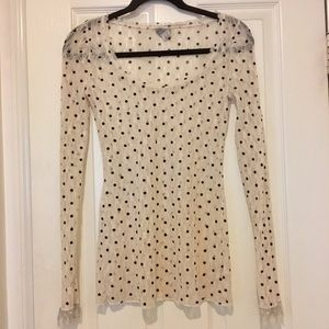 Free People Lace and Velvet Dot Top